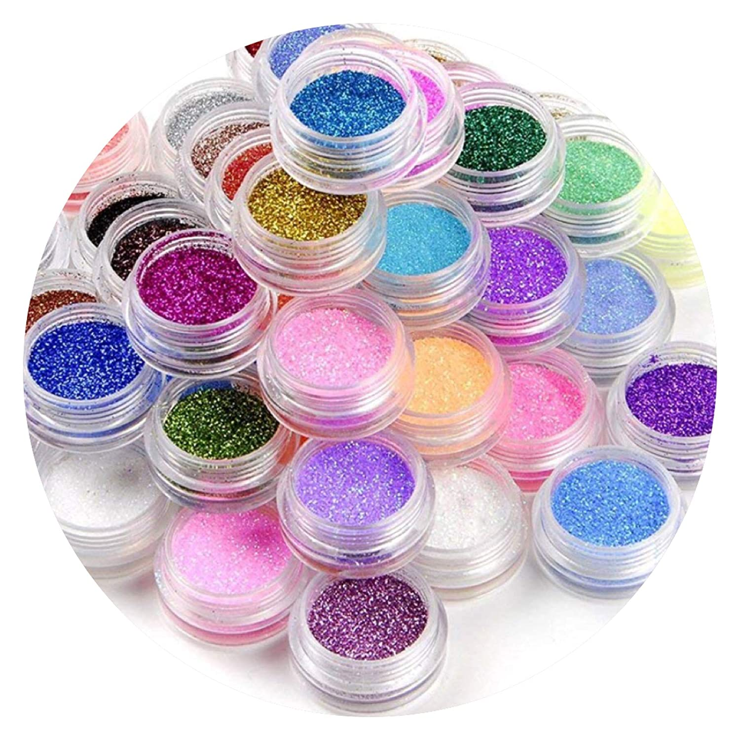 12 x Multiuse Glitter Pots Gorgeous Colours Fine Rainbow Dust Powder Nail Art Face Body Hair Decoration Design for Shellac Gel Nails and Regular Nail Polish Just Crystals Boutique