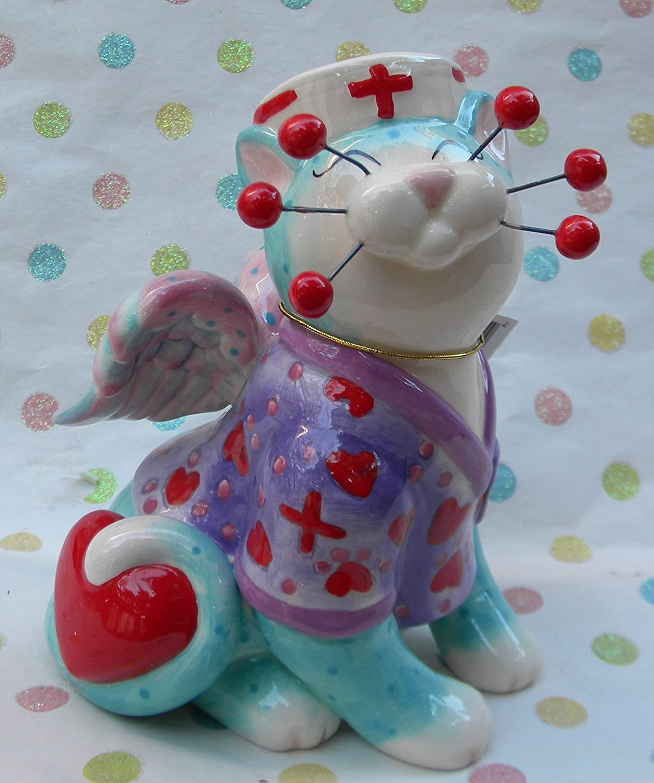 WhimsiClay Nurse cat Melissa.+ free Grandma cat ($18 value!)