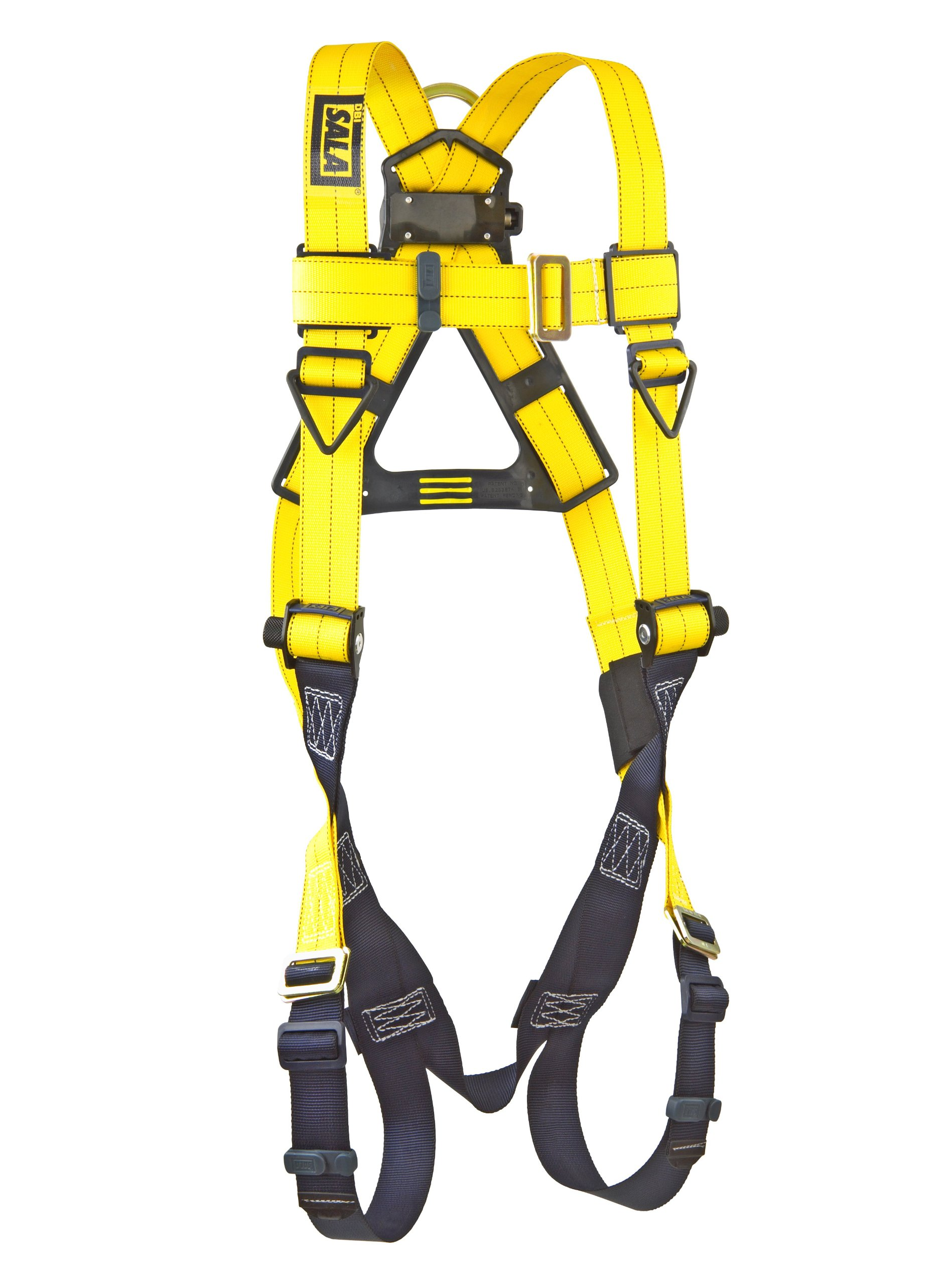 3M DBI-SALA Delta 1103321 Vest Style Harness, Back D-Ring, Pass-Thru Buckle Legs, 420  lb Capacity, Universal, Yellow/Navy