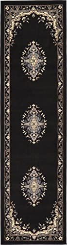 Unique Loom Reza Collection Classic Traditional Black Runner Rug 2 2 x 8 2