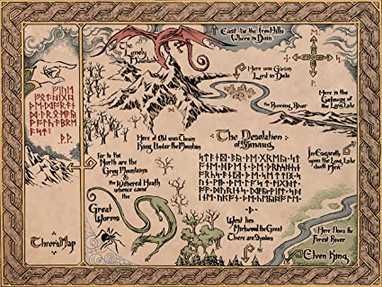 map of middle earth the lord of the rings fabric canvas cloth poster print for bar