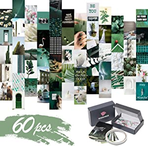 KOSKIMER Wall Collage Kit for Teens – 60 pcs Aesthetic Photo Collage – Stylish Green Collage Wall Kit Aesthetic – Premium Quality Paper – Superb Wall Collage Aesthetic – Dorm Room Decor