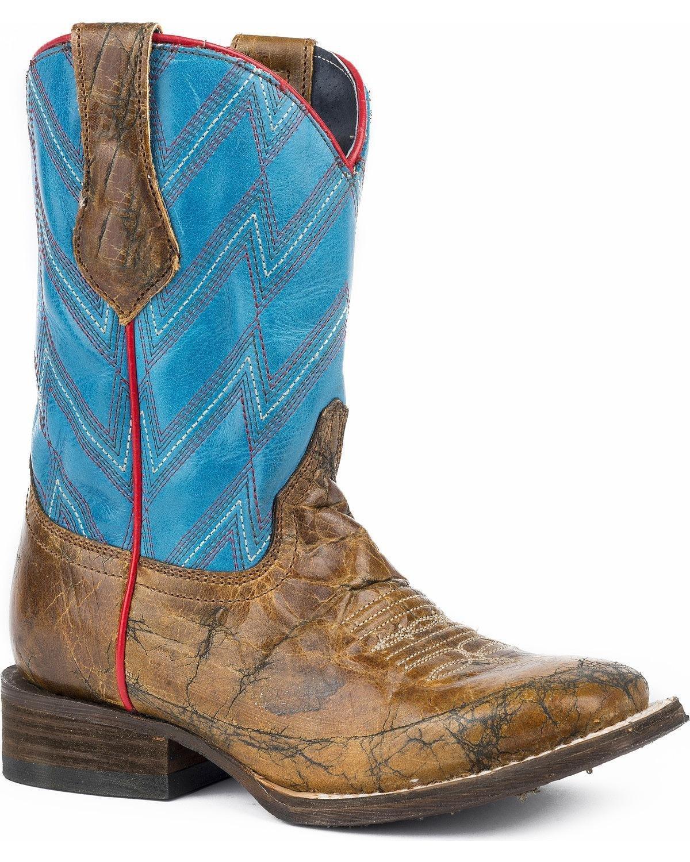 Roper Kids Chevron Square Toe Blue Boots B074QSJYGS 12 M US Little Kid|Brown