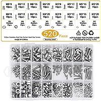 WEKON 520 stuks assortiment schroeven, schroeven van roestvrij staal, moeren van roestvrij staal, sluitring, schroefkop…
