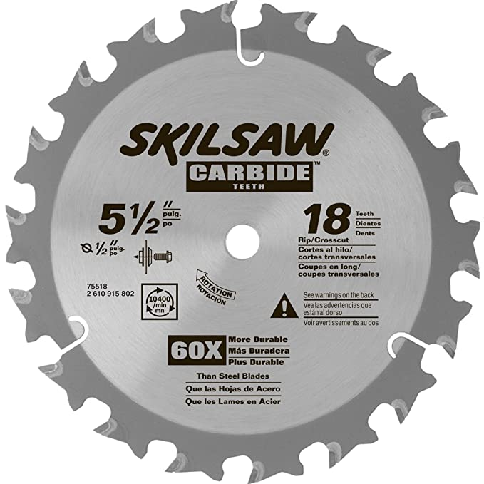 Skil 75518 5 12 in 18 tooth carbide blade for hd5510 circular saw skil 75518 5 12 in 18 tooth carbide blade for hd5510 circular saw blades amazon greentooth Images