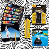Prismacolor 132-Count Colored Pencils, Triangular Scholar Pencil Eraser, Premier Pencil Sharpener, Colorless Blender Pencils, and CSS Adult Coloring Book