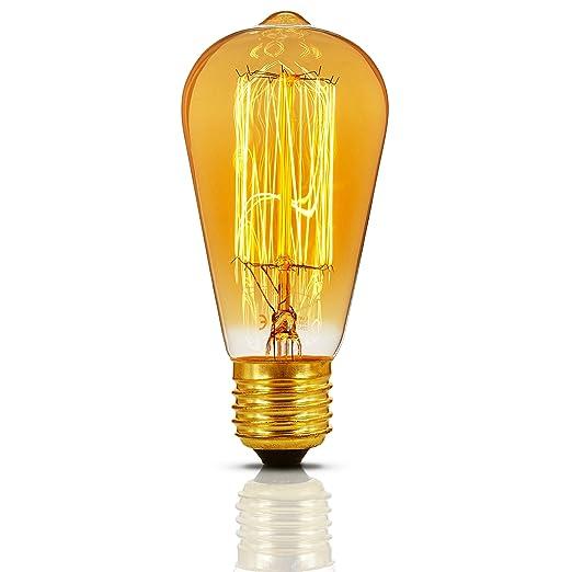 KJLARS Vintage ST64 Edison Bombilla L/ámpara de filamento incandescente de E27 industrial retro Bombillas 60W