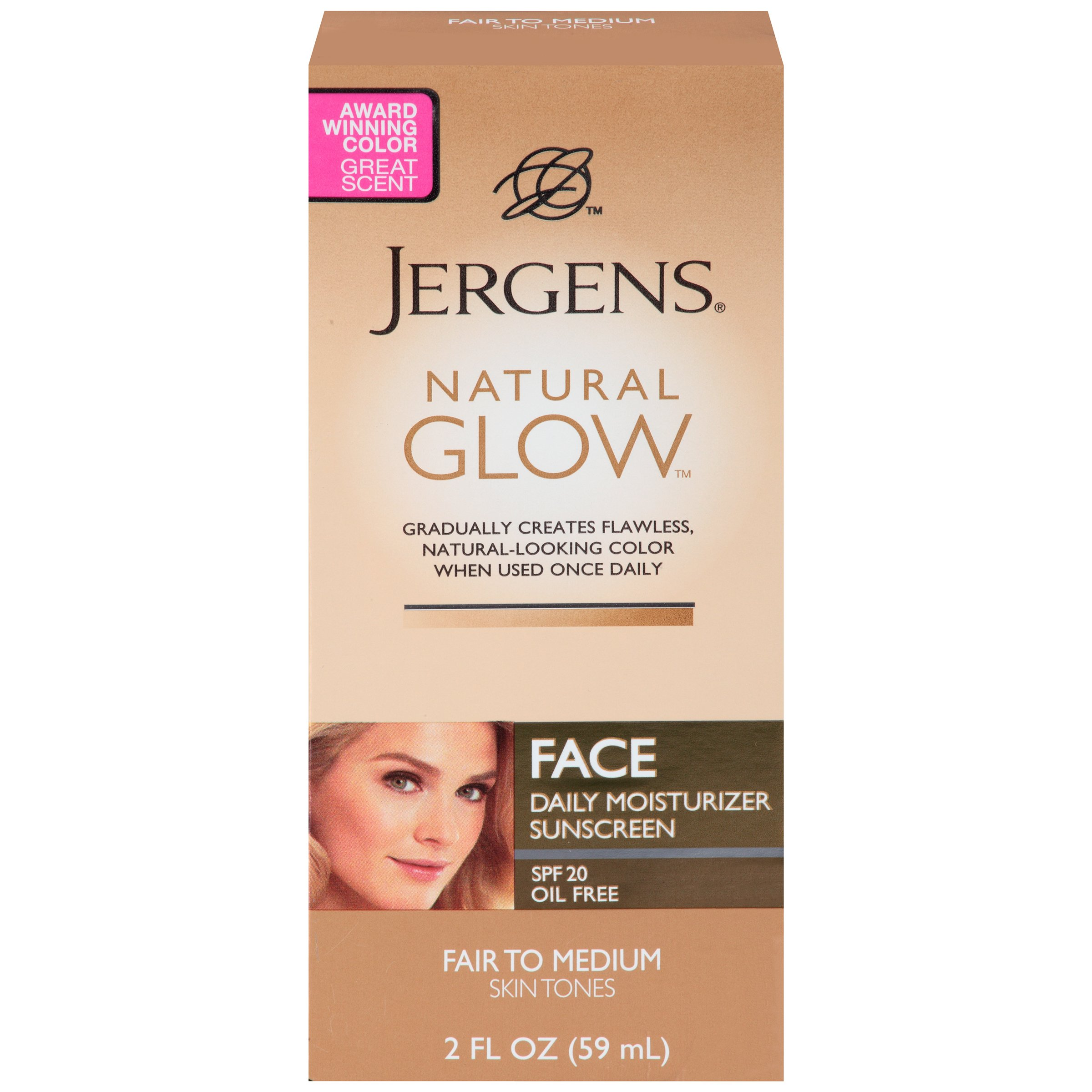 Jergens Natural Glow Face Daily Moisturizer Sunscreen SPF 20, Fair to Medium Skin Tones, 2 Ounce