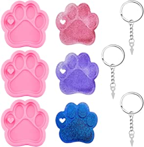 3 Pieces Bear Paw Silicone Molds Keychain Pendant Clay Molds Bear Paw Shaped Chocolate Candy Cake Molds with 3 Pieces Key Rings for Making Keychains and Homemade Chocolate Dessert