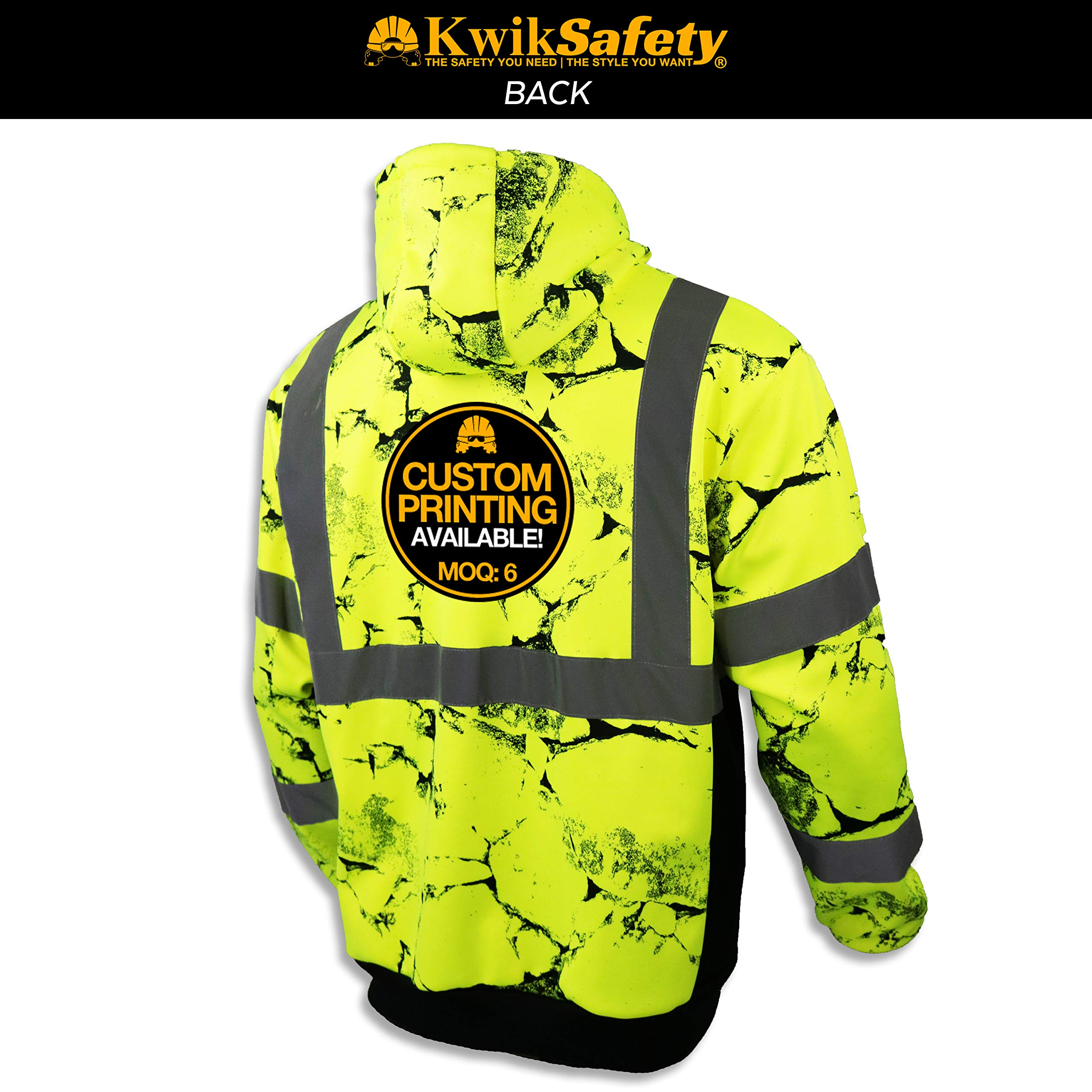 KwikSafety UNCLE WILLY'S WALL High Visibilty Reflective Anti Pill ANSI Class 3 Safety Jacket with Hoodie, Yellow, X-Large by KwikSafety (Image #3)