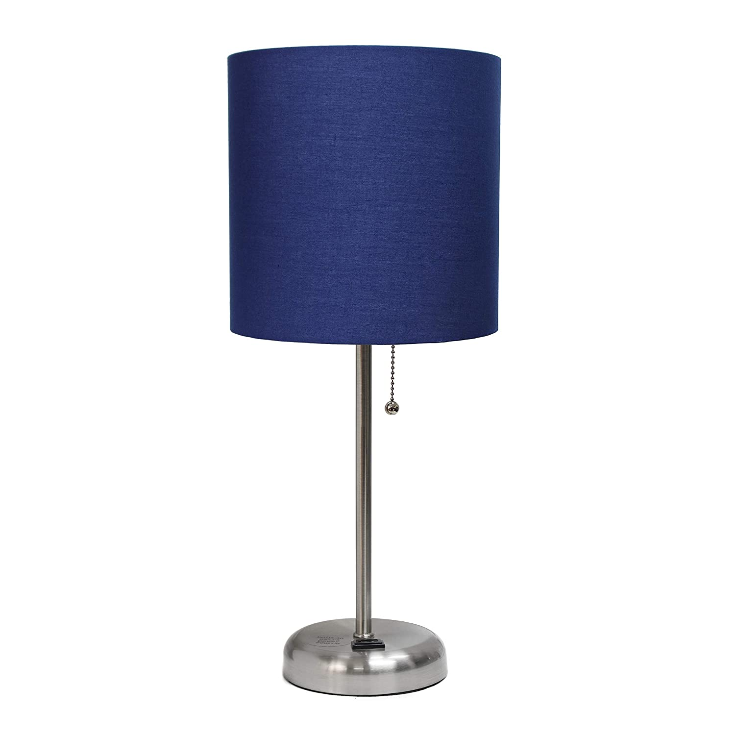 Limelights LT2024-NAV Stick Lamp with Charging Outlet and Fabric Shade, Navy