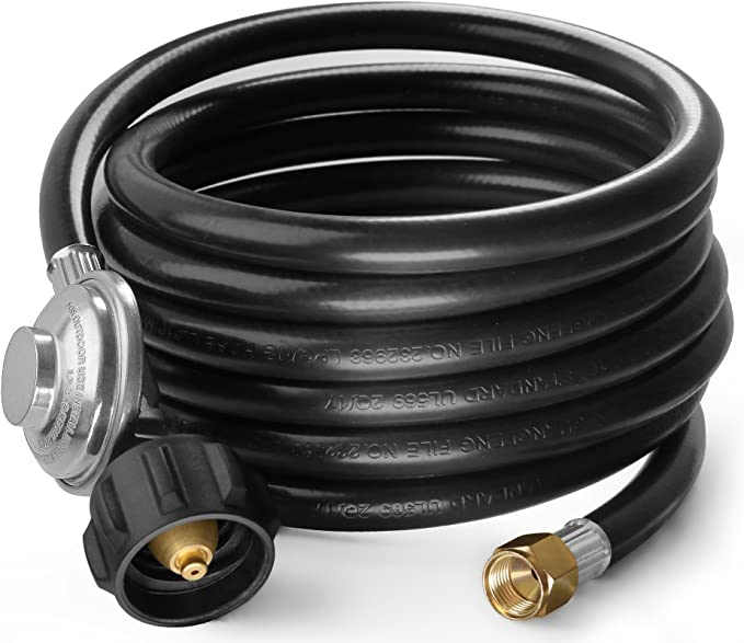 Heater and Fire Pit Table,3//8 Female Flare Nut QCC1 Hose and Regulator for Most LP Gas Grill DOZYANT Vertical 5 Feet Propane Regulator and Hose Universal Grill Regulator Replacement Parts