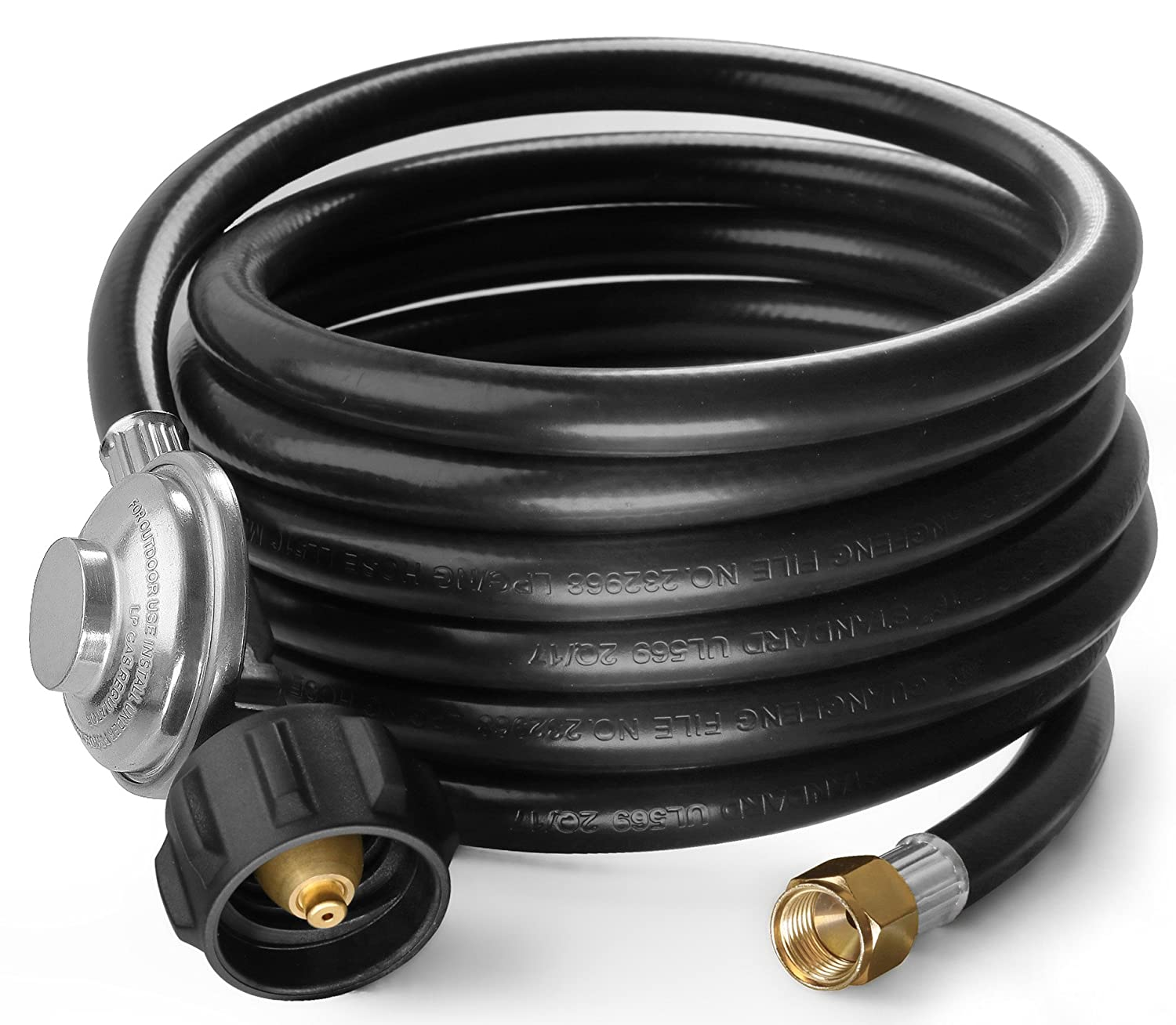 "DOZYANT 12 Feet Universal QCC1 Low Pressure Propane Regulator Grill Replacement with 12 FT Hose for Most LP Gas Grill, Heater and Fire Pit Table, 3/8"" Female Flare Nut"