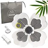 Baby Bath Flower Sink Insert - Soft Gray Blooming Flower Cushion for Infant Sink Bath - Organic Bamboo Baby Bath Travel KIT -