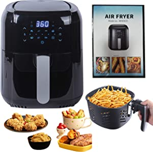 RXXM 1400-Watt 5.8-QT Digital Air Fryer, Multifunctional Oilless Cooker with Detachable Basket, 7 Presets, reheat, Temp/Time Control, 15+ Recipes for Fryed Chips Fish Meat Chiken Cake Black