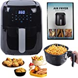 RXXM 1400-Watt 5.8-QT Digital Air Fryer, Multifunctional Oilless Cooker with Detachable Basket, 7 Presets, reheat, Temp/Time
