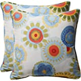 Pillow Perfect Decorative Multicolored Floral Square Toss Pillows, 2-Pack