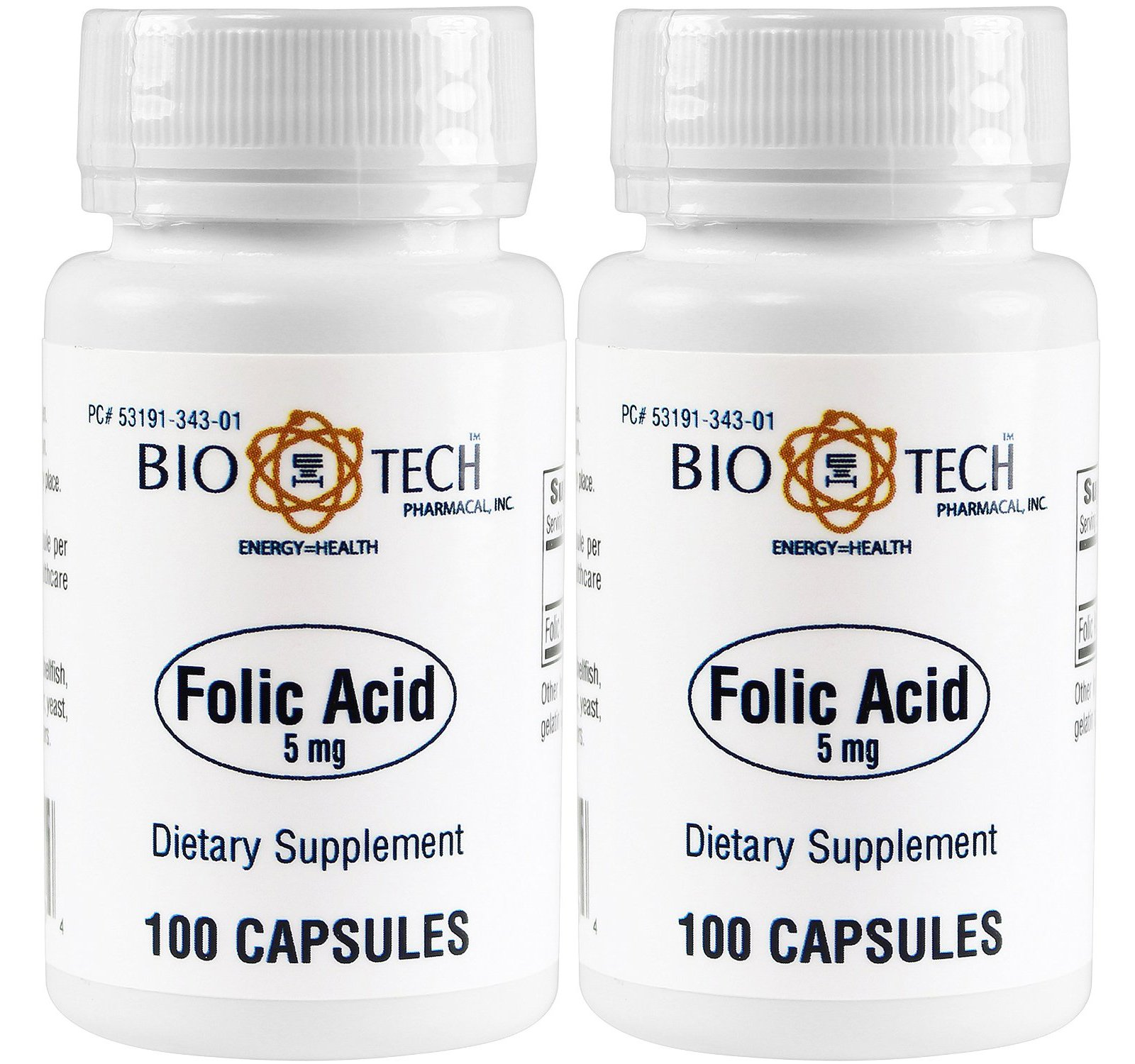 Folic Acid 5mg - BioTech Pharmacal - 100 Capsules - Pack of 2 Bottles by BioTech Pharma