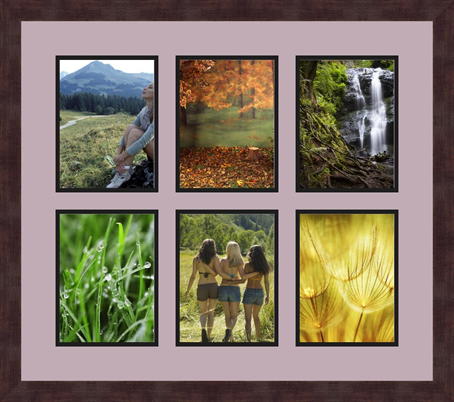 Art to Frames Double-Multimat-1006-805//89-FRBW26061 Collage Frame Photo Mat Double Mat with 6-6x8 Openings and Espresso Frame
