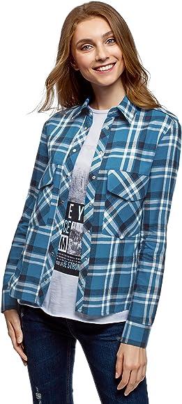 oodji Ultra Mujer Camisa de Algodón con Bolsillos en el Pecho, Azul, ES 34 / XXS: Amazon.es: Ropa y accesorios