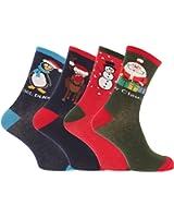 FLOSO® Mens Christmas Design Novelty Socks (Pack Of 4)