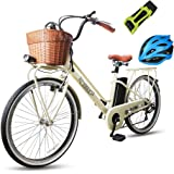 "NAKTO 26"" 250W City Electric Bicycle Sporting Shimano 6- Speed Gear EBike with Removable 250W 36V10A Lithium Battery"