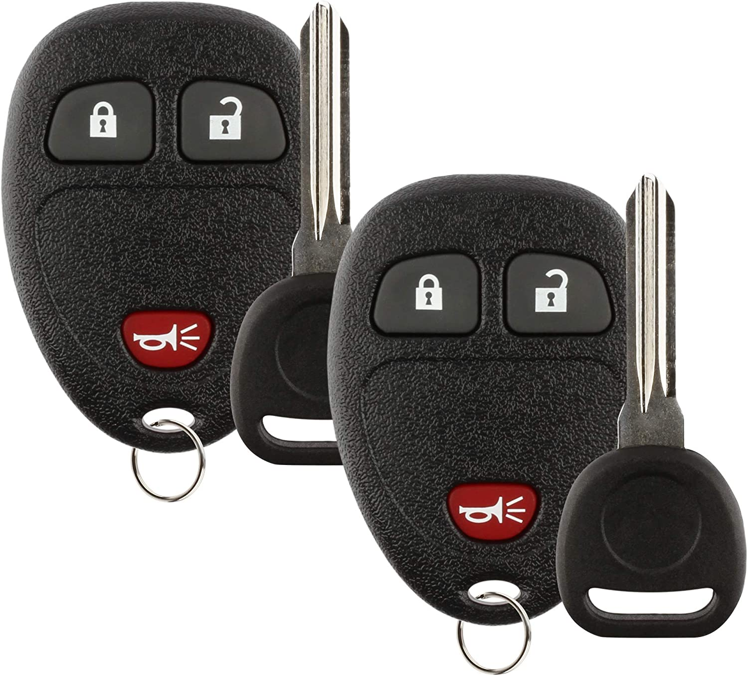 Discount Keyless Replacement 4 Button Automotive Keyless Entry Remote Control Transmitter 15913421 and a Replacement ID 46 Transponder Key