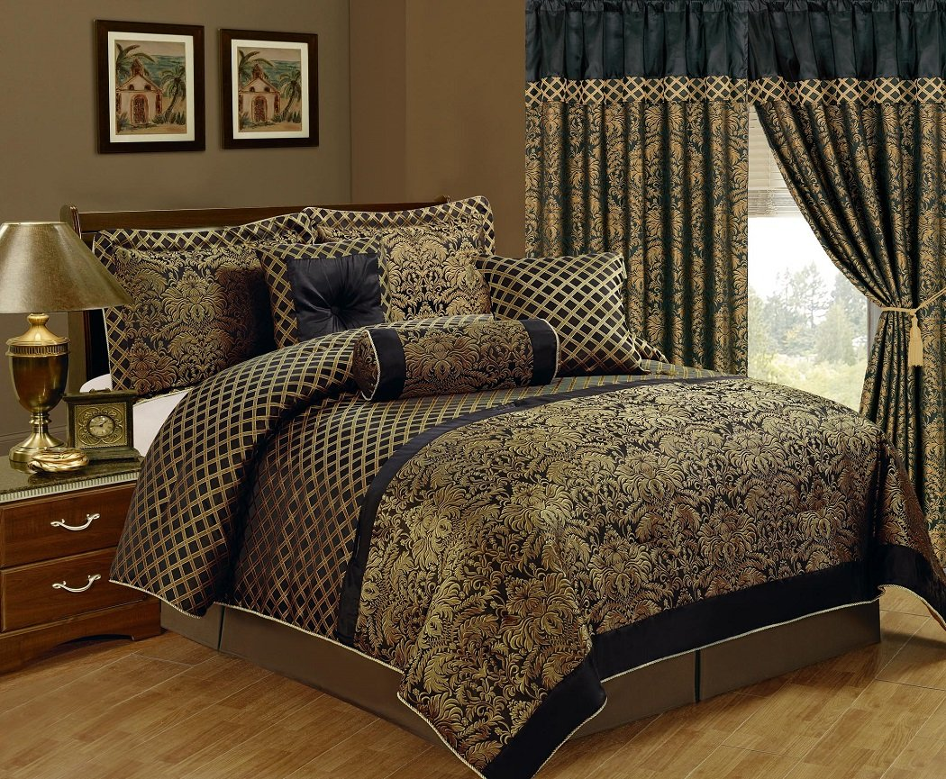 amazoncom chezmoi collection lisbon piece jacquard floral comforter setking blackgold home  kitchen. amazoncom chezmoi collection lisbon piece jacquard floral