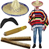 Mexican Fancy Dress Set - Woven Poncho + Straw Sombrero + Cigar + Stick on Moustache