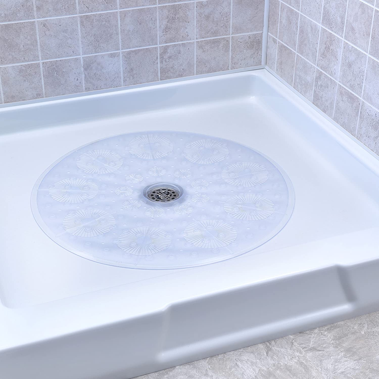 Amazon.com: SlipX Solutions Clear Round Shower Stall Mat Provides ...