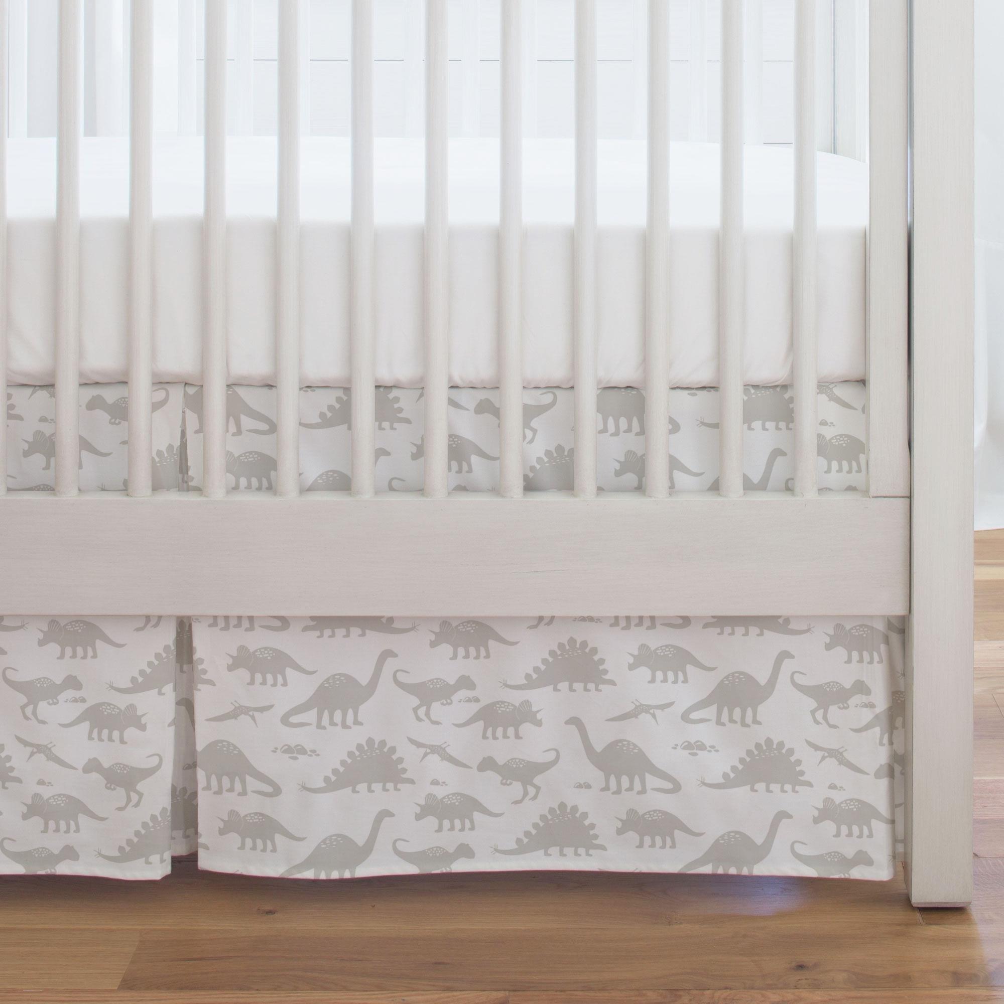 Carousel Designs French Gray Dinosaurs Crib Skirt Single-Pleat 17-Inch Length - Organic 100% Cotton Crib Skirt - Made in the USA