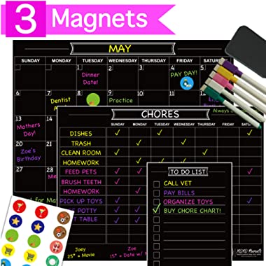 XOXO Parents 3 Magnet Dry Erase Organization Set - Family Calendar, Chore Chart and List Magnet - Perfect for Multiple Kids and Adults - Bonus Chalk Markers, Icon Magnets and Eraser