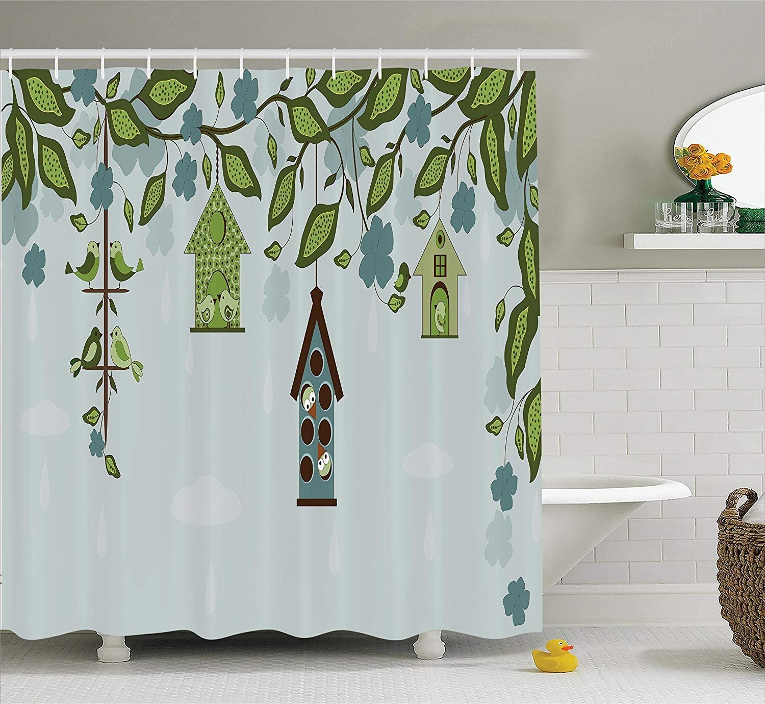 "Ambesonne Birds Shower Curtain, Birds Sitting in Cages Hanged on Floral Tree Branches Peace Blooming Nature Print, Cloth Fabric Bathroom Decor Set with Hooks, 70"" Long, Green Blue"