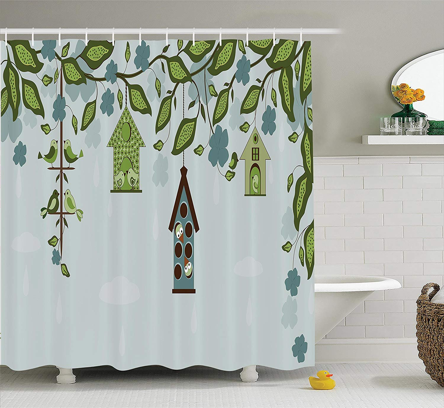Polyester Fabric Bathroom Shower Curtain Set with Hooks Green Blue Birds Sitting in Cages Hanged on Elegant Floral Tree Branches Peace Blossom Decor Ambesonne Flying Birds Decor Collection
