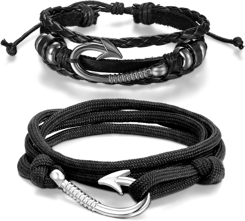 Aroncent Fish Hook Bracelet Leather Braided Wrap Rope Wristband Men Women Black 2 PCS 8.5-10.5 Inches