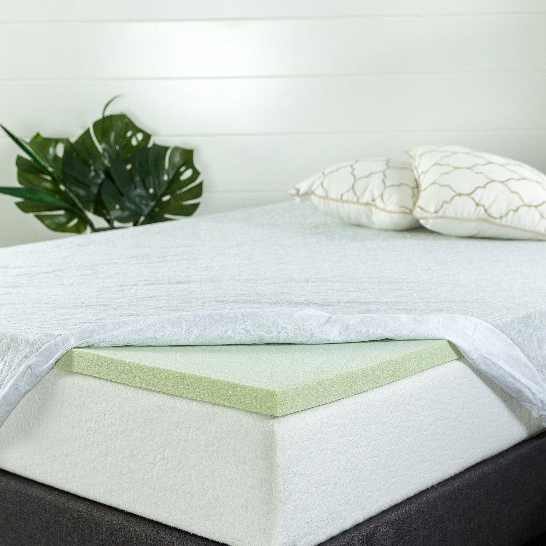 Zinus 1.5 Inch Green Tea Memory Foam Mattress Topper, Queen by Zinus