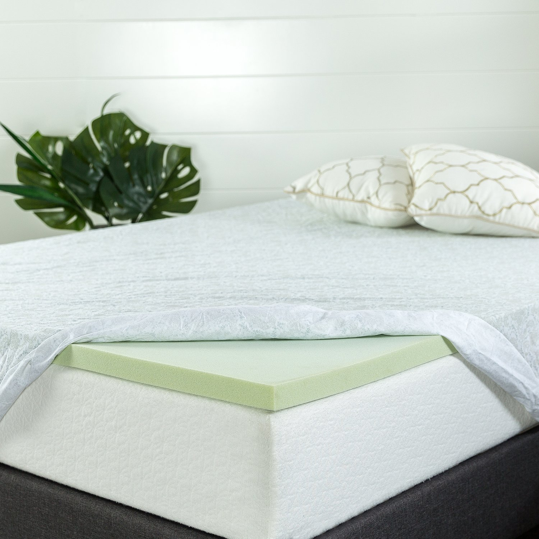 Zinus 1.5 Inch Green Tea Memory Foam Mattress Topper, Queen