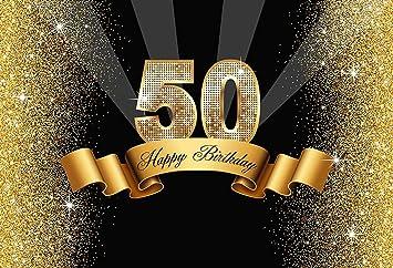 Amazon.com: 7X5FT Negro y Oro 50º cumpleaños fondo de ...