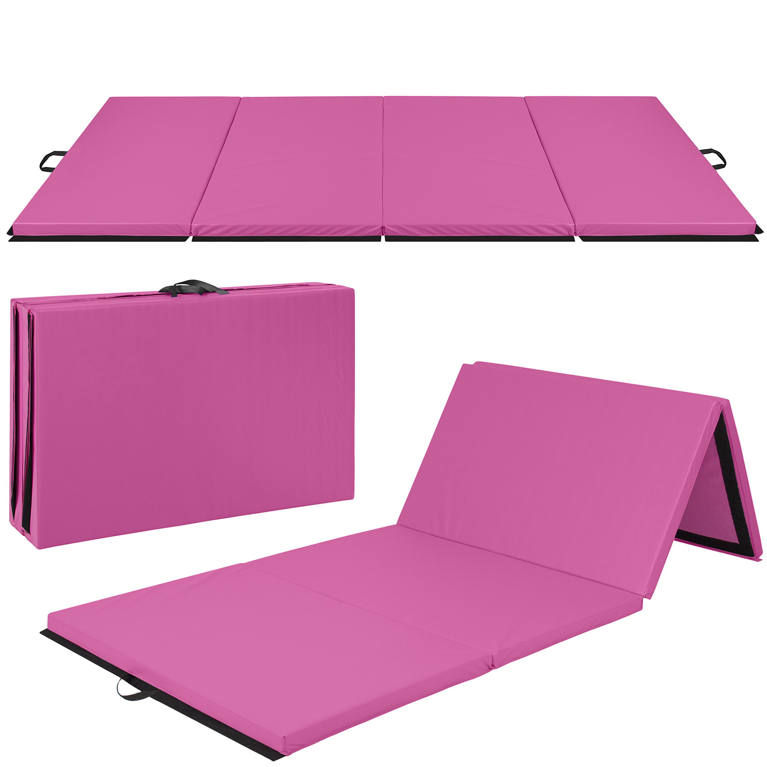Best Choice Products Folding 10' Exercise Gym Mat for Gymnastics, Aerobics, Yoga, Martial Arts - Pink