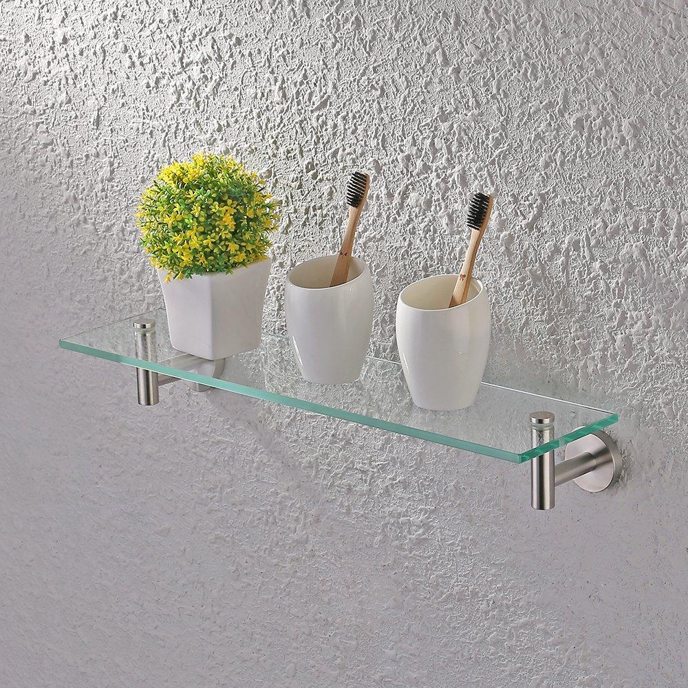 KES Bathroom Glass Shelf 1 Tier Shower Caddy Bath Basket Stainless Steel RUSTPROOF Wall Mount Brushed Finish, A2021-2 by Kes