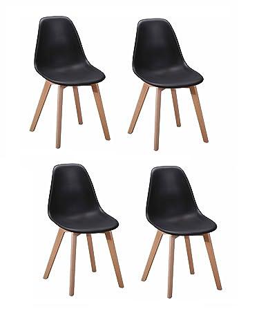 Meubletmoi 4 Stühle Skandinavisches Design U2013 Ergonomisch Geformte  Sitzfläche U2013 Füße Aus Buchenholz U2013 Collection Dawy