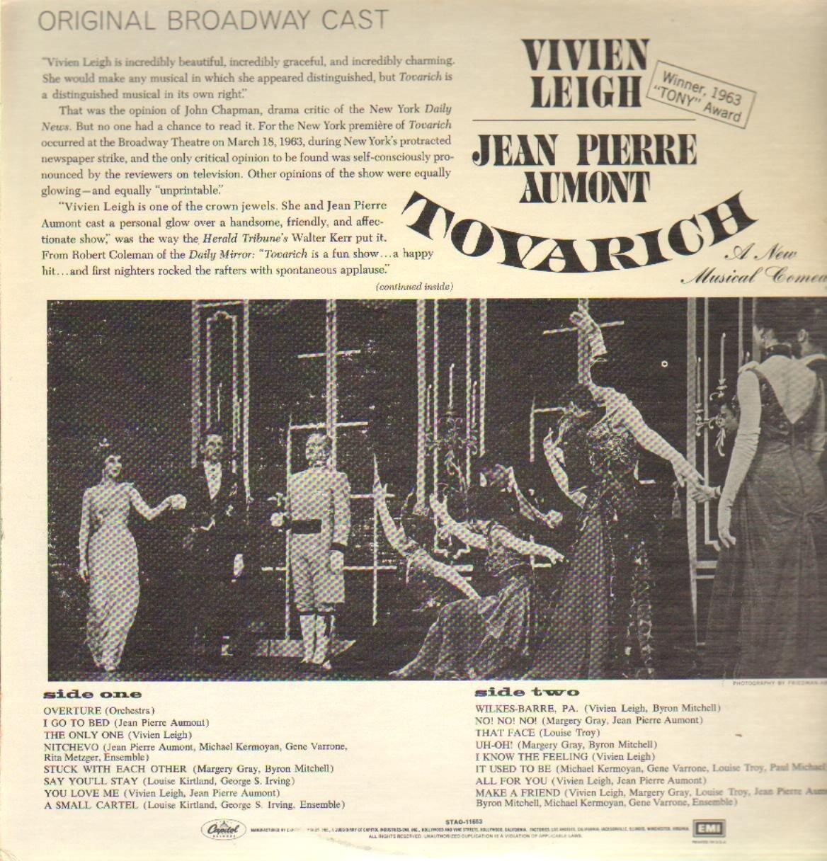 TOVARICH (BROADWAY ORIGINAL CAST LP, 1977 LTD REISSUE ...