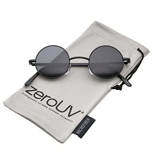 6511022901b Small Retro Lennon Inspired Style Neutral-Colored Lens Round Metal  Sunglasses 41mm (Black