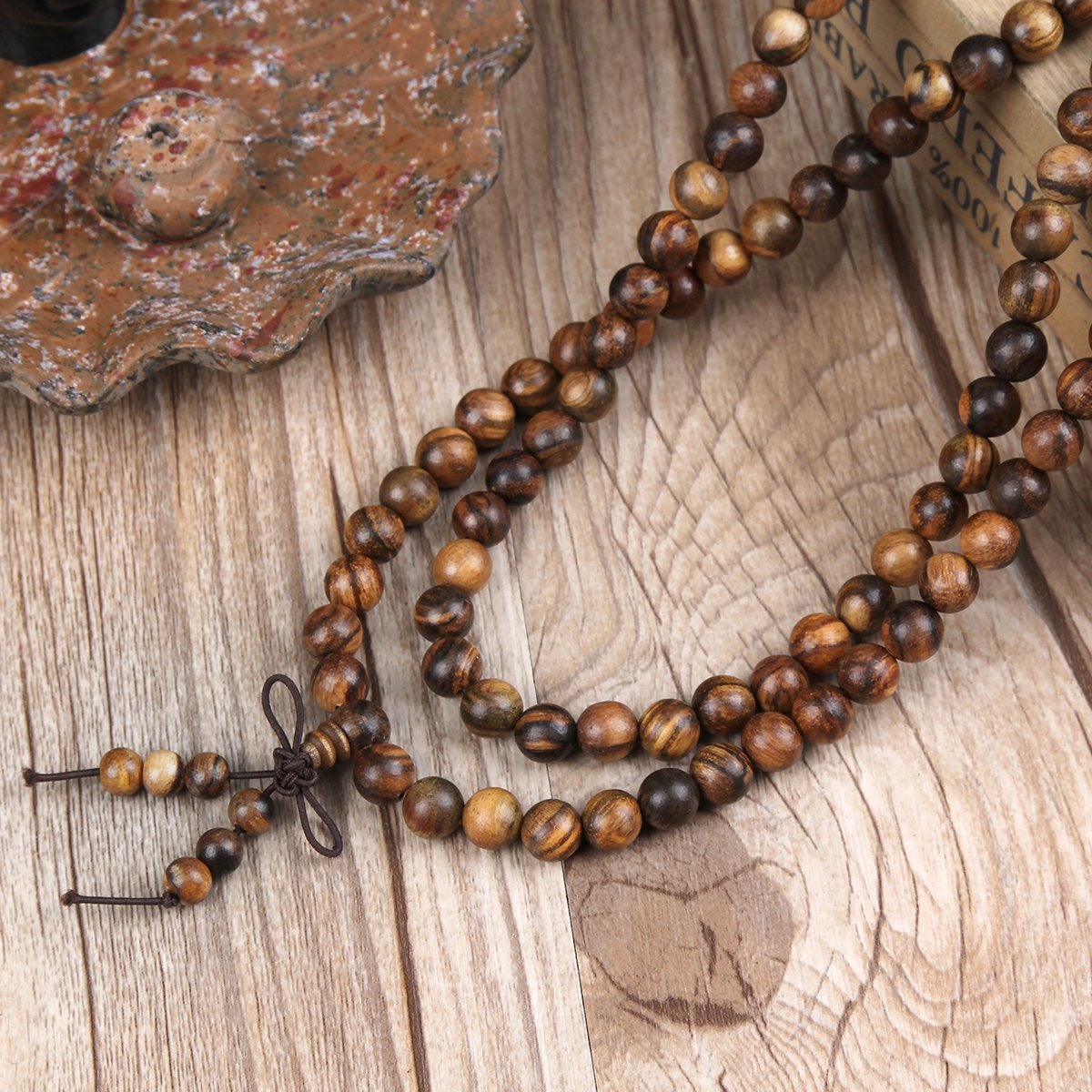 EVBEA 2PCS 6mm 8mm Buddha Bracelet Necklace Prayer Beads Rosary Wood Bracelets for Men (8mm bead) by EVBEA (Image #3)