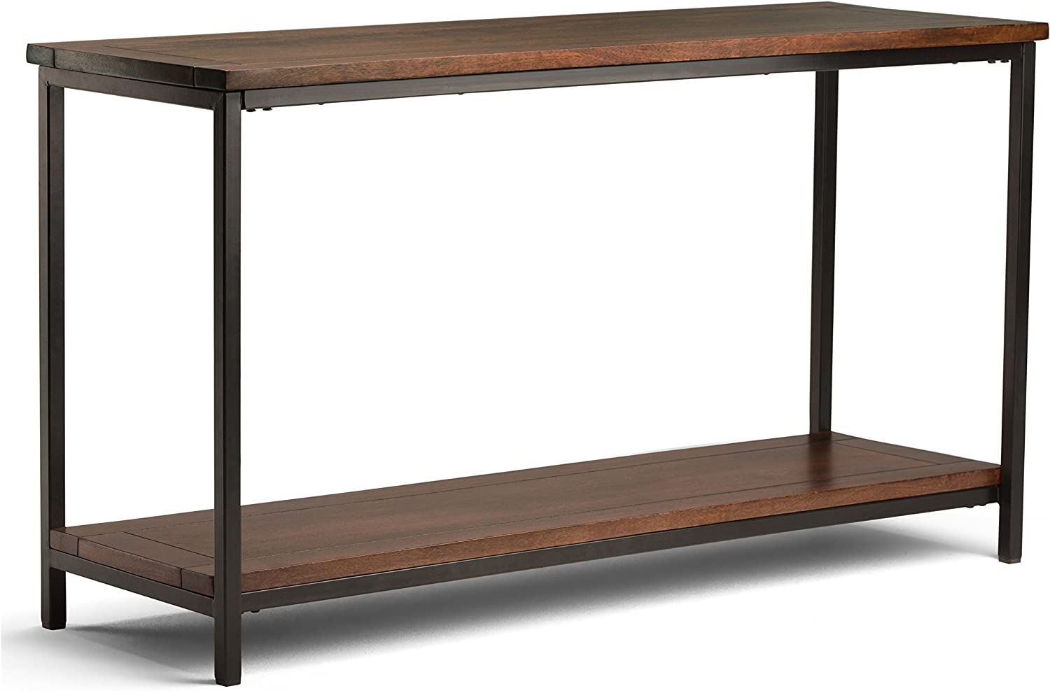 Simplihome Skyler Solid Wood And Metal 54 Inch Wide Modern Industrial Console Sofa Entryway Table In Dark Cognac Brown With Storage 1 Shelf For The Living Room Entryway And Bedroom Furniture
