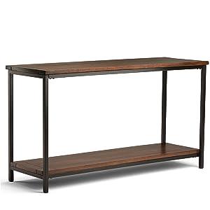 Simpli Home 3AXCSKY-04 Skyler Solid Mango Wood 54 inch Wide Modern Industrial Console Sofa Table in Dark Cognac Brown