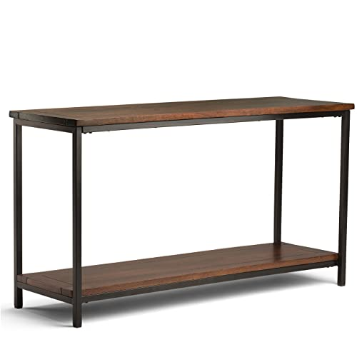 Simpli Home 3AXCSKY-04 Skyler Solid Mango Wood and Metal 54 inch Wide Modern Industrial Console Sofa Table in Dark Cognac Brown