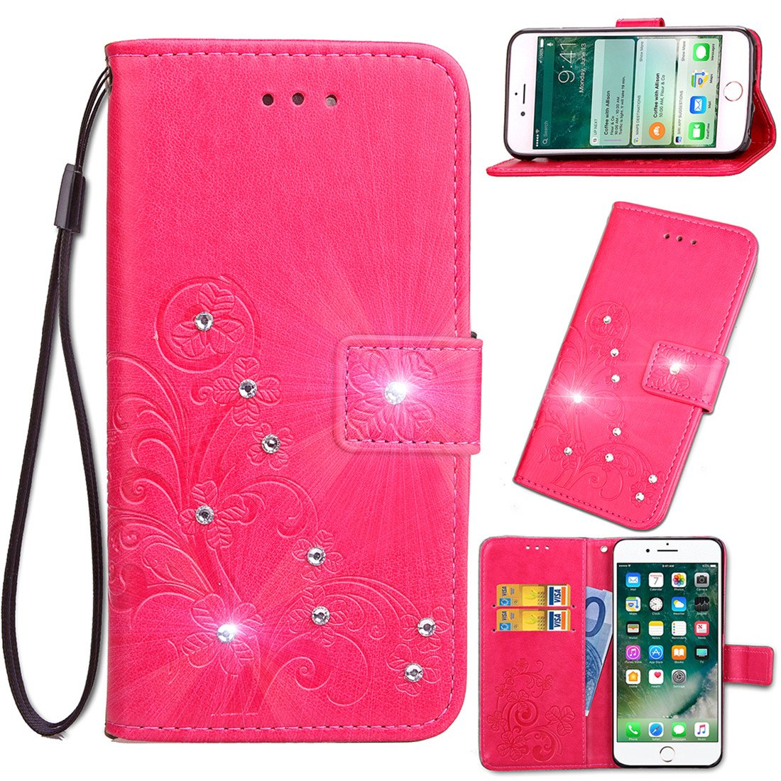 LG V30 Case, LG V30 Wallet Case, Lwaisy Bling Crystal Rhinestone Emboss Floral Clover PU Leather Wallet Flip Protective Case Cover with Card Slots and Stand for LG V30 (2017) - Bling/Purple