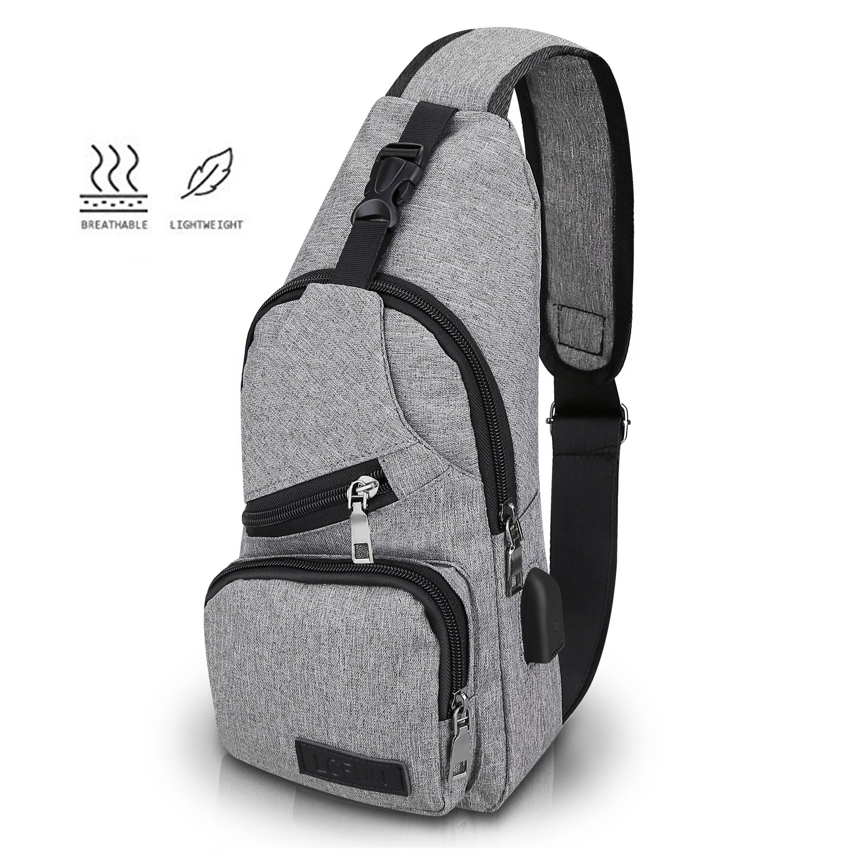 lcfun Canvas Sling Bag Shoulder chest cross body backpack, Men Women Crossbody backpack, usb charging port Backpack for Travel/Hiking/Outdoor Sport (Gray)