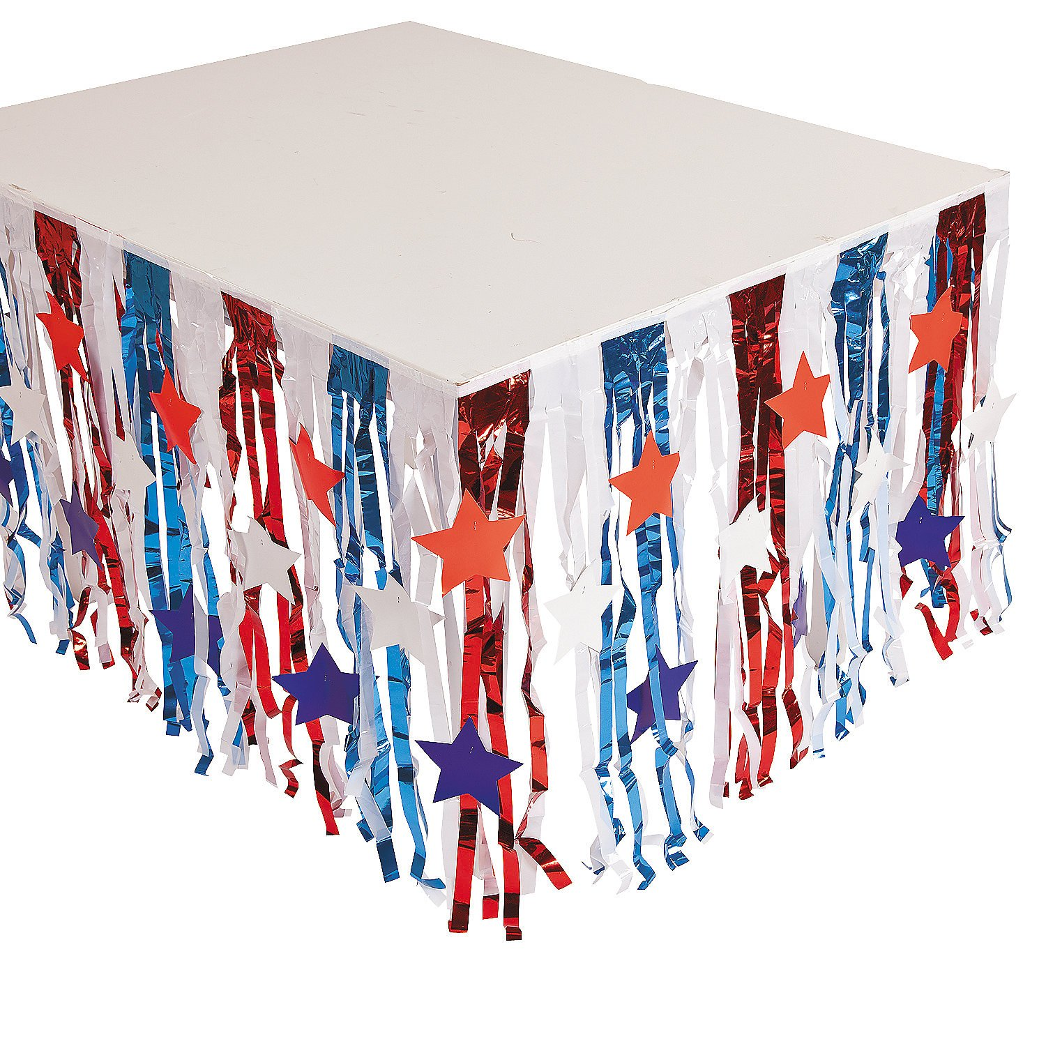 Fun Express - Patriotic Foil Tableskirt W/star Cutout for Fourth of July - Party Supplies - Table Covers - Table Skirts - Fourth of July - 1 Piece
